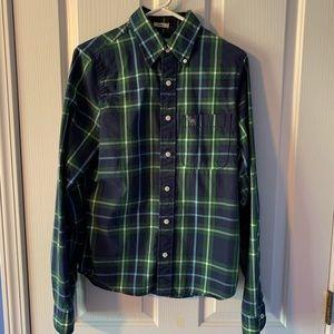 Abercrombie plaid shirt, green/blue, size S